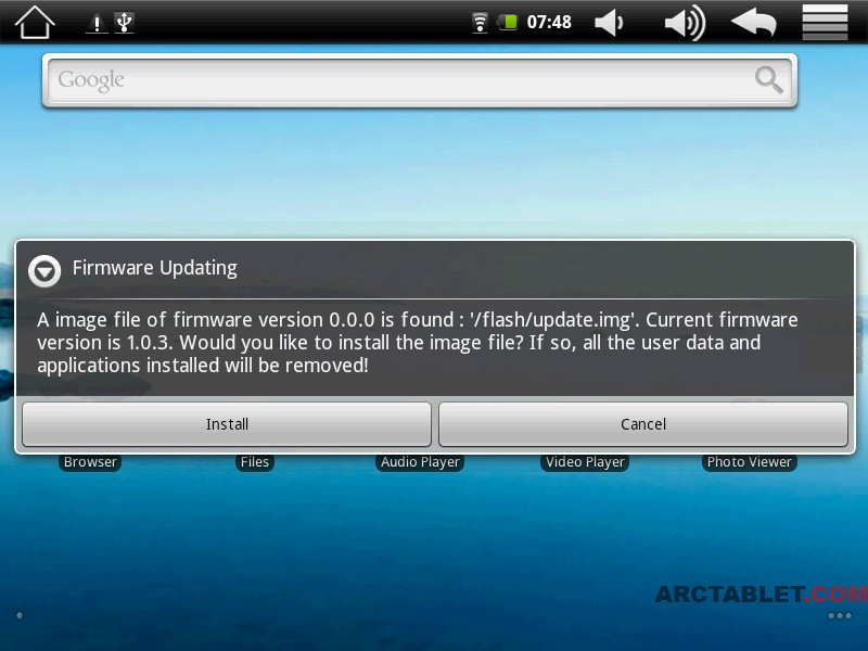 Arnova 8 custom firmware with Android Market and root