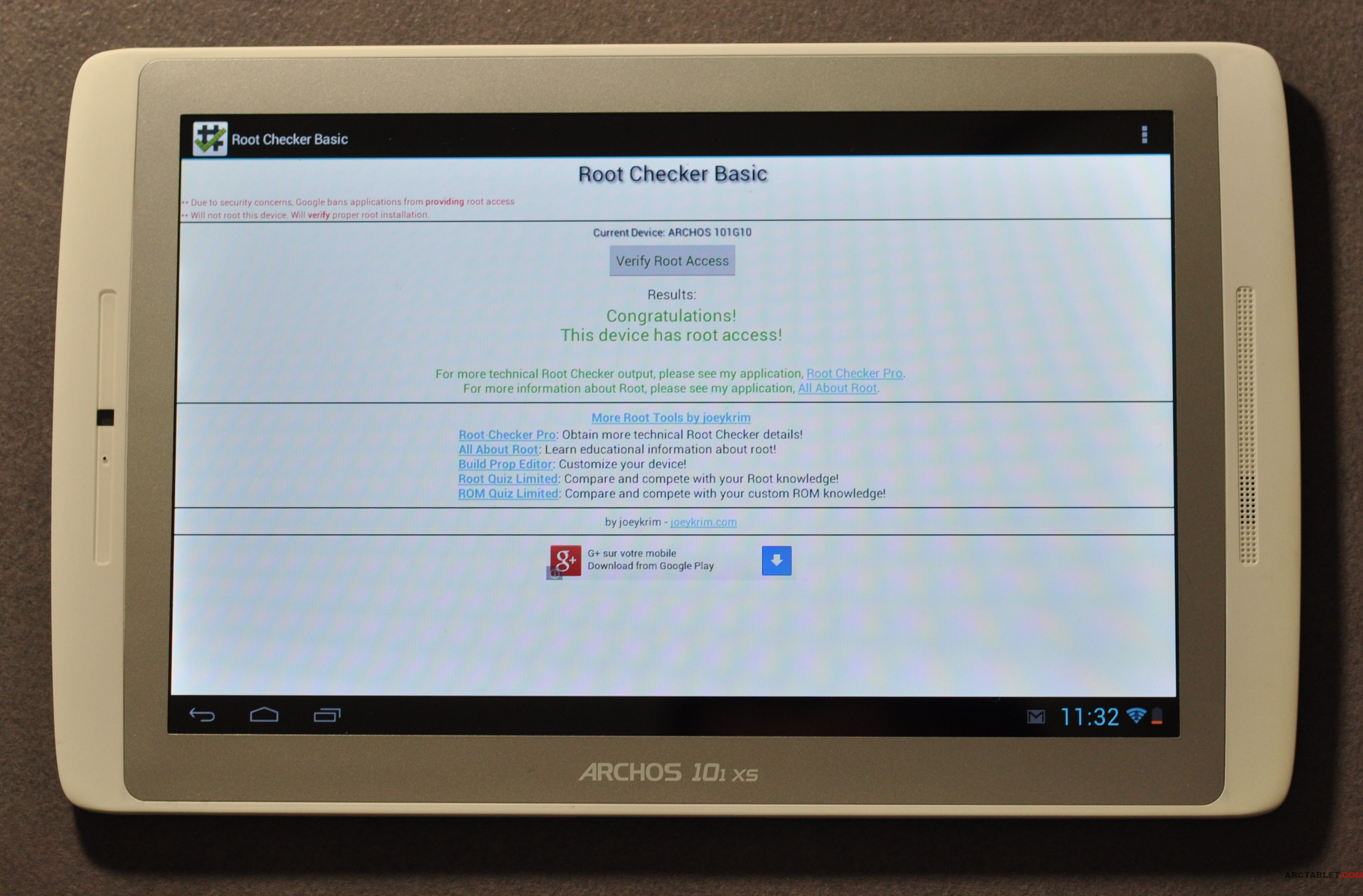 google play sur tablette archos 101