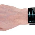 arm with a modern Internet Smartwatch, isolated on white